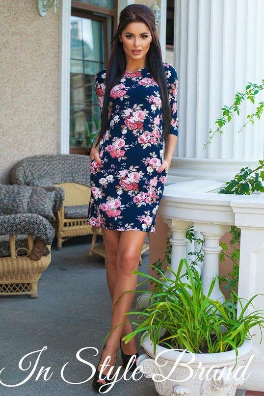 Платье женское короткое с цветочным принтом (К9026)