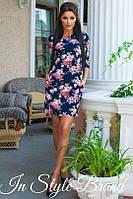 Платье женское короткое с цветочным принтом (К9026), фото 1