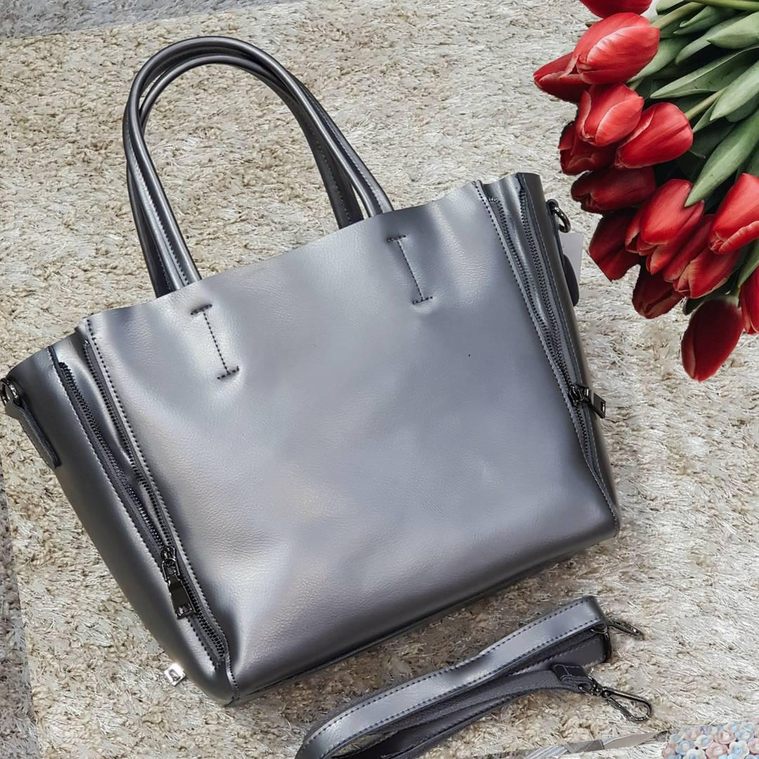 Женская  черная сумочка из натуральной кожи