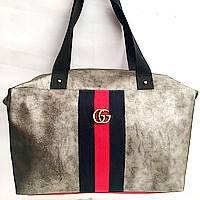 Брендовые сумки Gucci швейка (хаки)30*40, фото 1