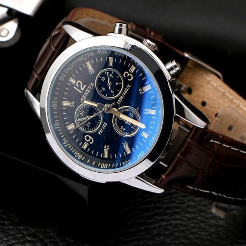 """Мужские классические наручные часы """"Geneva"""" (коричневый)"""