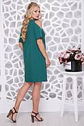 Женское ботальное платье свободного силуэта Милан / цвет бутылка / размер 48-62, фото 2