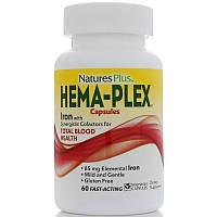 Natures Plus, Hema-Plex, питательная добавка для здорового кровообращения, 60 растительных капсул, фото 1