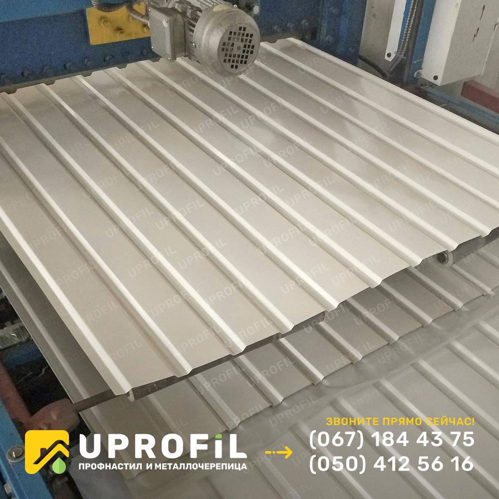 Профнастил стеновой ПС10 для забора Белый RAL 9003 глянец 0.40 мм.