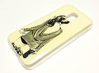 Чехол для Samsung Galaxy S5 mini g800h силиконовый с рисунком девушка