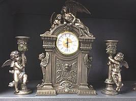 """Каминный набор Veronese """"Херувимы"""", часы и 2 подсвечника"""