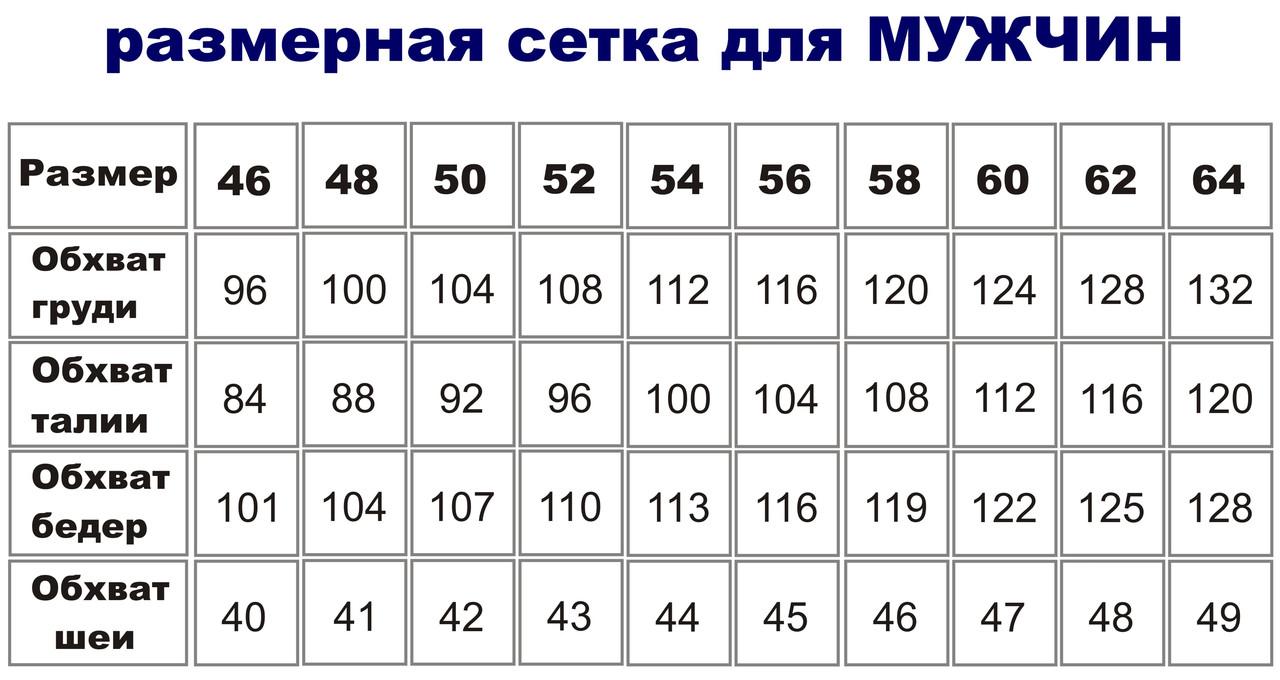 0985d6b765eaf Размерная сетка для мужской одежды, цена 111 грн., купить в Харькове —  Prom.ua (ID#57059308)
