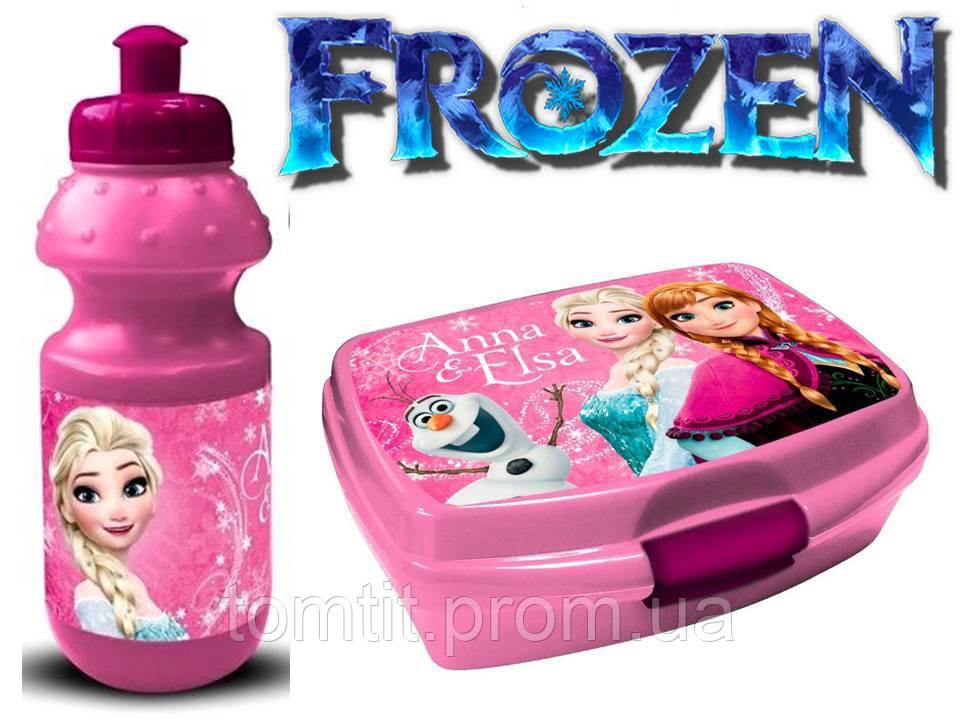 """Набір """"Frozen (Фроузен: Ганна і Ельза)"""". Ланч бокс (ланчбокс) + пляшка, колір рожевий"""