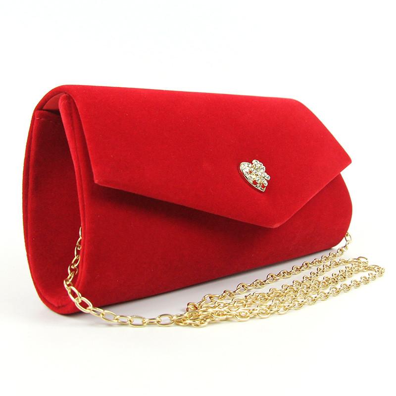 Клатч велюровый женский красный Rose Heart 103056