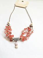 Бусы, ожерелье, колье с натуральными камнями розовое