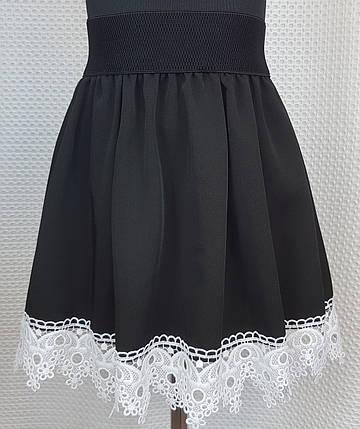 Юбка школьная черная с белым кружевом снизу р. 134-152, фото 2