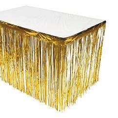 Юбка для стола из золотого дождика (высота 74см, длина 2,74м), двухсторонняя