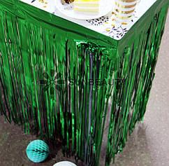 Юбка для стола из зеленого дождика