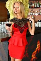 Платье женское короткое с кружевом (К11694), фото 1
