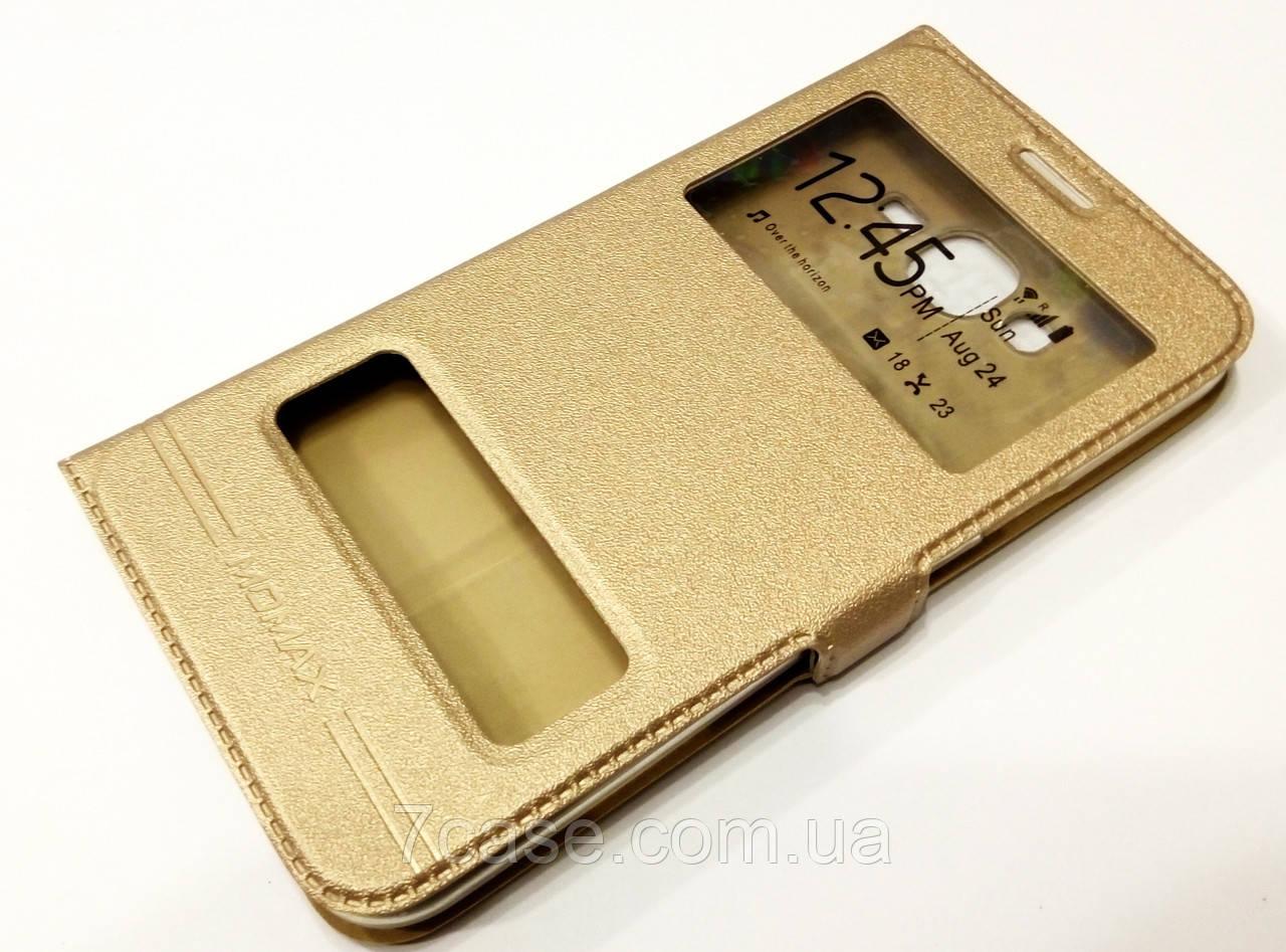 Чехол книжка с окошками momax для Samsung Galaxy J7 J700H (2015) / J7 Neo j701 золотой
