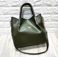 Женская брендовая сумка из кожзама PRADA зеленая