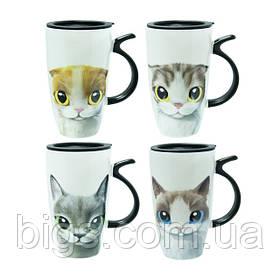 Кружка с крышкой 600 мл Ультра-кот ( чашка )