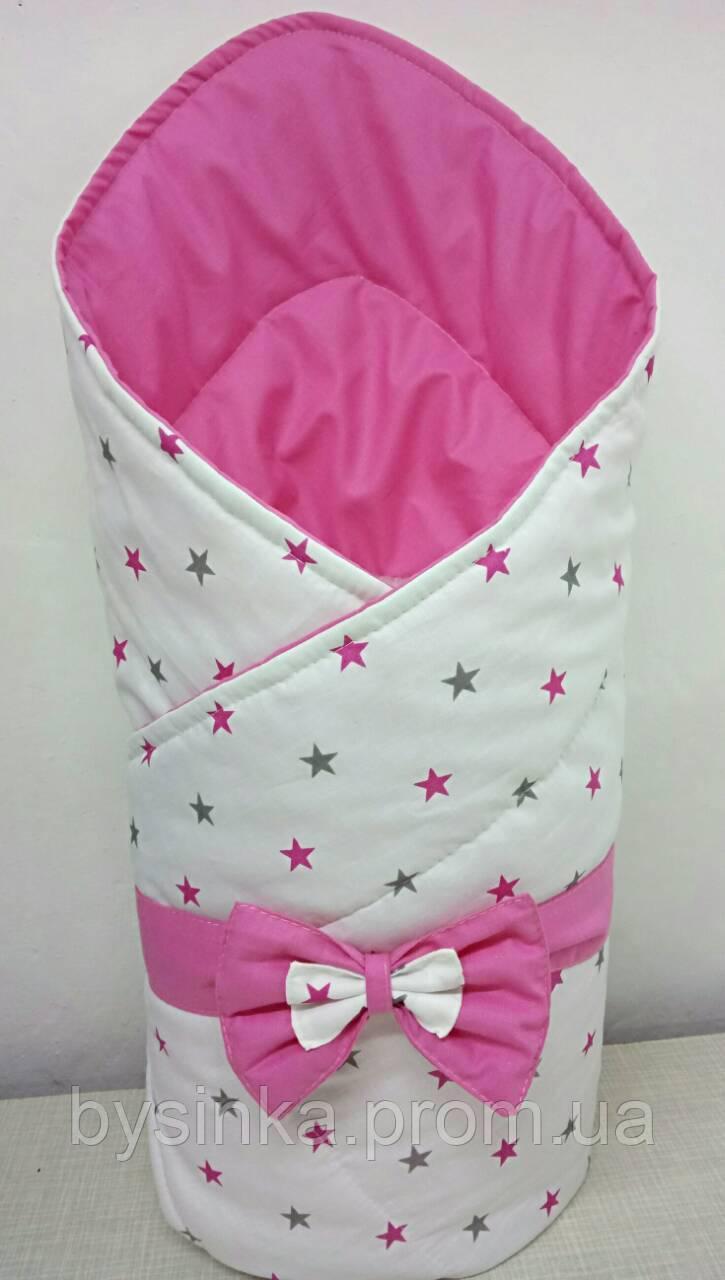 """Конверт-одеяло на выписку новорожденного, трансформер- """"Звездочки на белом"""""""
