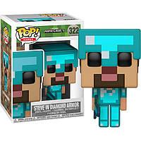 Фигурка Funko Pop Фанко Поп Minecraft Steve in Diamond Armor Майнкрафт Стив в Алмазной броне 10 см 322F