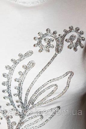 Водолазка белая для девочки серебряная тесьма (от 9 до 11 лет), фото 2