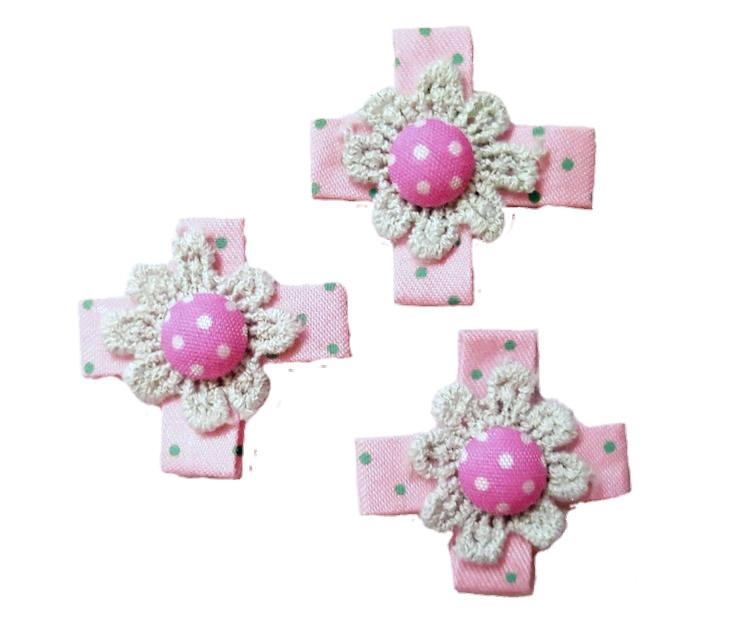 Бантики Светло-Розовые с кружевом и пуговицей для декора и украшений 3.5x3.5 см 10 шт/уп, фото 1