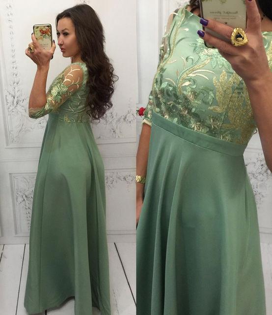 Платье женское вечернее атласное с кружевом (К12754)