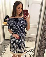 Женское красивое джинсовое платье в горошек