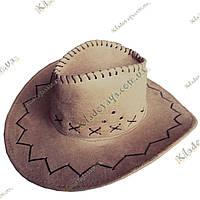 Ковбойская шляпа (Бежевая), под велюр р-р 54-59, фото 1