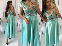 Платье женское длинное с кружевом (К12855)