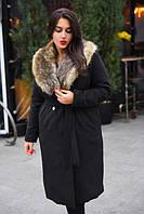 ab4b3b803c9 Пальто женское длинное с искусственным мехом батал (К12862)