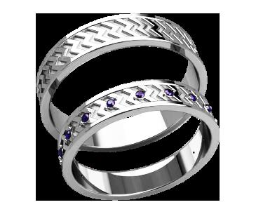 Кольца парные,обручальные Зигзаги 20028