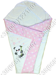 Летний конверт одеяло с вышивкой на выписку для новорожденного Панда розовый