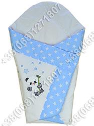 Летний конверт одеяло с вышивкой на выписку для новорожденного Панда голубой