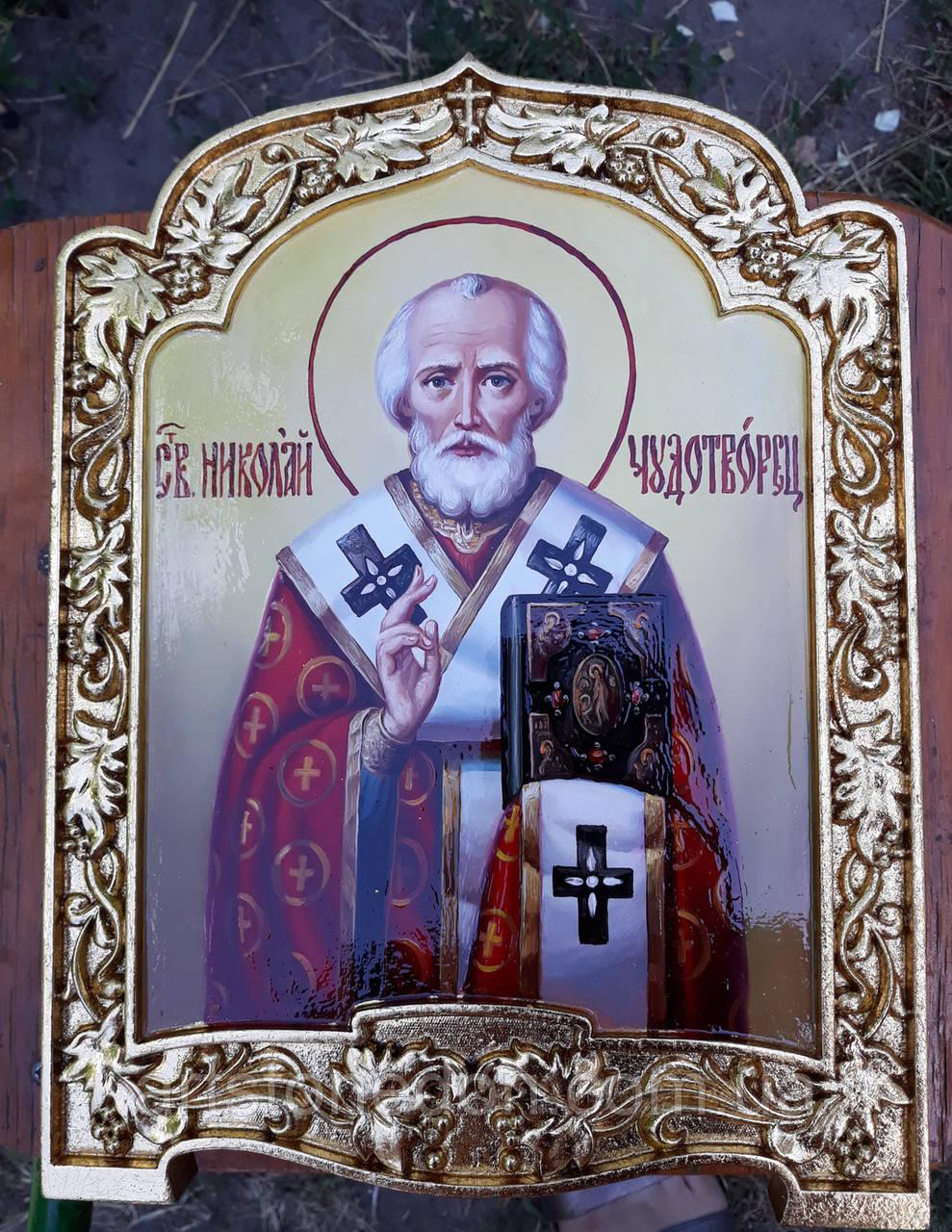 Икона писаная Святой Николай Чудотворец в позолоченном киоте