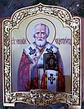 Икона писаная Святой Николай Чудотворец в позолоченном киоте, фото 2