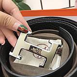 Ремень Эрмес, чёрный с серебром, 3.8 см, пояс, натуральная кожа, фото 3