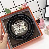 Ремень Эрмес, чёрный с серебром, 3.8 см, пояс, натуральная кожа, фото 2