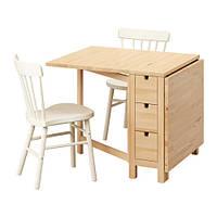 Комплект для столовой IKEA NORDEN / NORRARYD 89 см стол и 2 кресла береза белый 691.614.96