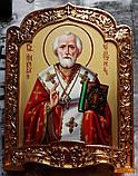 Икона писаная Святой Николай Чудотворец в позолоченном киоте, фото 3