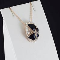 Великолепный кулон с кристаллами Swarovski + цепочка, покрытые золотом 0887