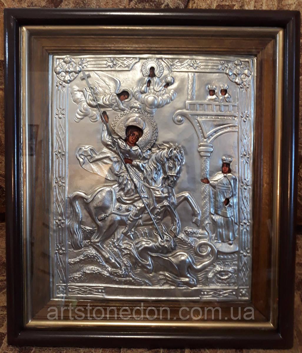 Икона посеребренная Святой Георгий Победоносец
