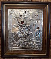 Икона посеребренная Святой Георгий Победоносец, фото 1