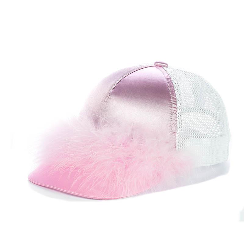 Розовая кепка с Розовым пухом