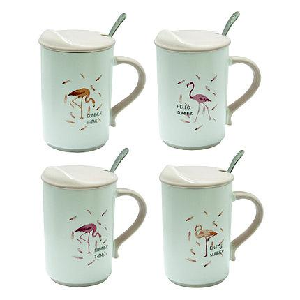 Кружка с крышкой и ложкой 375 мл Фламинго ( чайные чашки )
