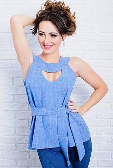 Льняная женская блузка Джулия голубой