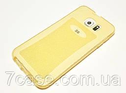 Чехол Samsung Galaxy S6 G920 силиконовый с блестками золотой