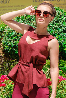 Блузка - туника льняная Джулия бордовый