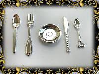 Набор мини-посуды - столовый прибор (серебро)