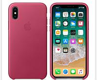 Кожаный чехол Leather Case IPHONE Х / XS (Pink Fuchsia), фото 1