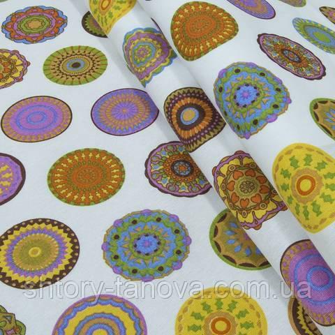 Декоративная ткань для штор, цветочные круги мультиколор